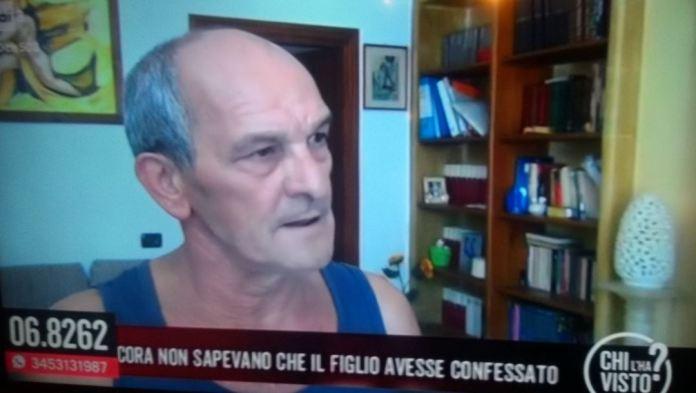 Un frame dell'intervista di Chi l'ha visto a Ciro Marzo, padre del giovane che ha confessato l'omicidio di Noemi Durini