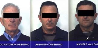Da sinistra Rocco Antonio Cosentino, Antonino Cosentino e Michele Vallone