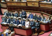 Il presidente del Consiglio Giuseppe Conte in Senato durante le sue dichiarazioni programmatiche