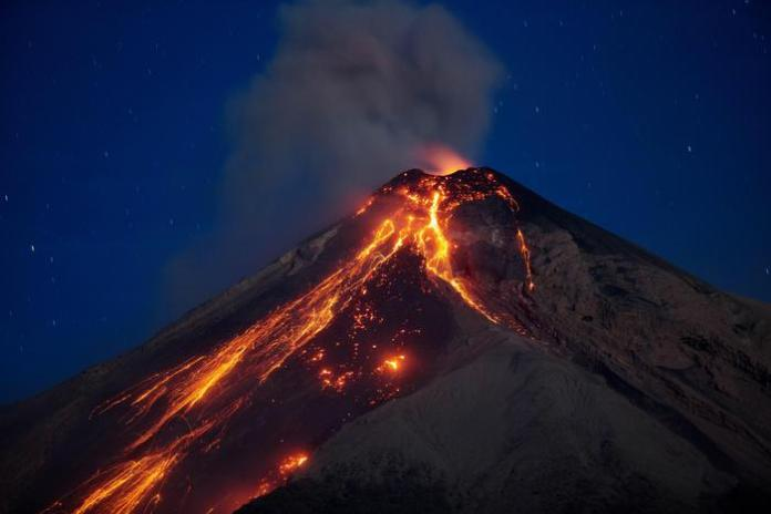 Eruption of the Volcan de Fuego in Guatemala