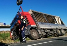 mezzo pesante camion sbandato