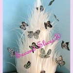white feather with butterflies wedding cake from Second Slices® cake shop n bakery in Edmonton, Sherwood Park AB