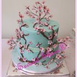 vegan n gluten free wedding cake in teal with cherry blossons from Second Slices® cake shop n bakery in Edmonton AB