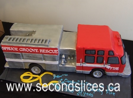 Swell Firetruck Birthday Cakes Cupcakes Edmonton Second Slices Cakery Birthday Cards Printable Benkemecafe Filternl