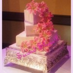 pink lilies wedding square white cake with silver bling from Second Slices® Cakery in Edmonton AB - cake shop, bakery