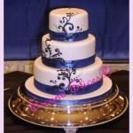 royal blue scrolls white fondant round cake wedding from Second Slices® Cakery in Edmonton AB - cake shop, bakery
