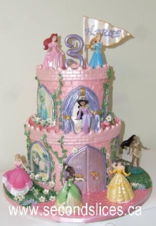Stupendous Disney Princesses Castle Pink Girl Birthday Cake Edmonton Personalised Birthday Cards Beptaeletsinfo