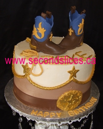 Terrific Cowboy Boots Western Birthday Cake Edmonton Second Slices Birthday Cards Printable Benkemecafe Filternl