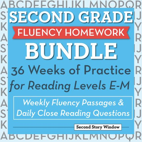 2nd Grade Common Core Fluency Homework with Close Reading Questions