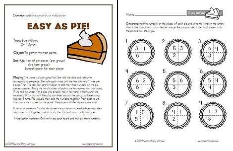Easy as Pie Game Rules and Skill Sheet