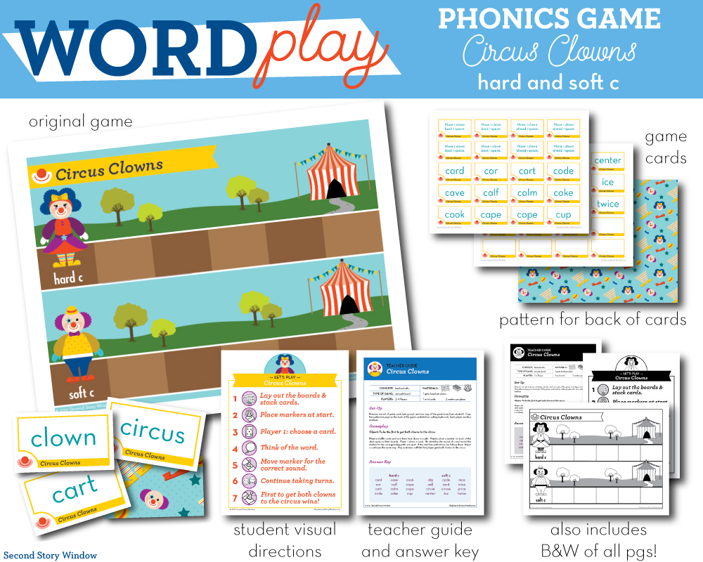 medium resolution of Circus Clowns hard and soft c Phonics Game - Words Their Way Game - Second  Story Window