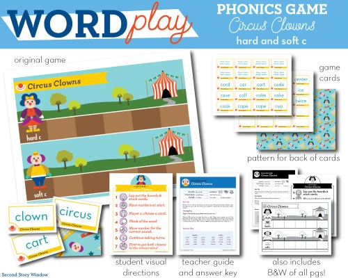 small resolution of Circus Clowns hard and soft c Phonics Game - Words Their Way Game - Second  Story Window