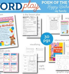 Happy Birthday - ay Word Family Poem of the Week - Long Vowel A Fluency  Poem - Second Story Window [ 800 x 1000 Pixel ]