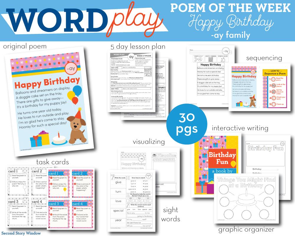 medium resolution of Happy Birthday - ay Word Family Poem of the Week - Long Vowel A Fluency  Poem - Second Story Window