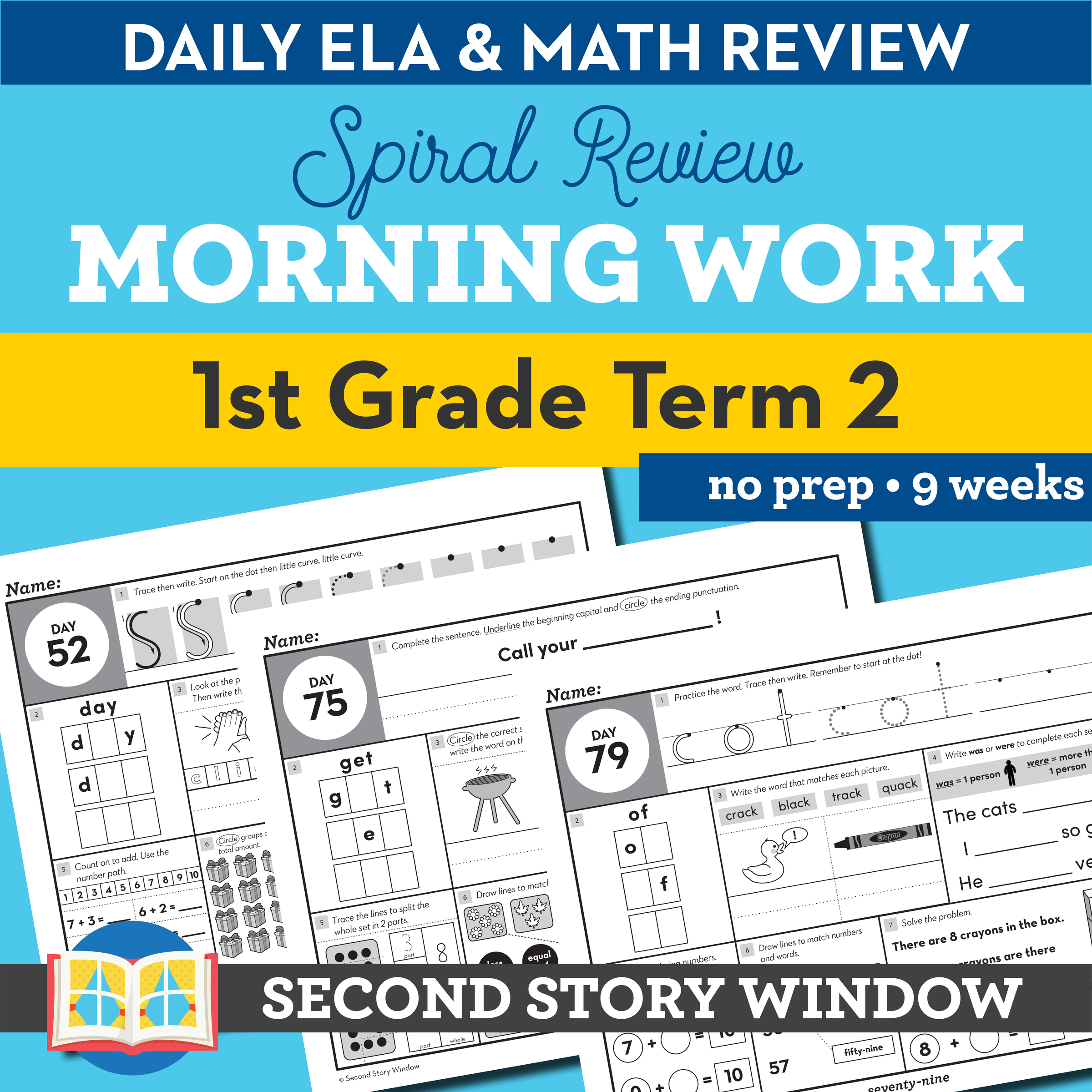 hight resolution of 1st Grade Morning Work Term 2 • Daily Math and ELA Spiral Review - Second  Story Window