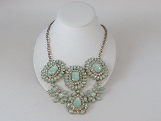 green and clear rhinestone necklace