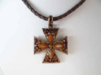 Brown bead cross necklace on brown leatherette cord