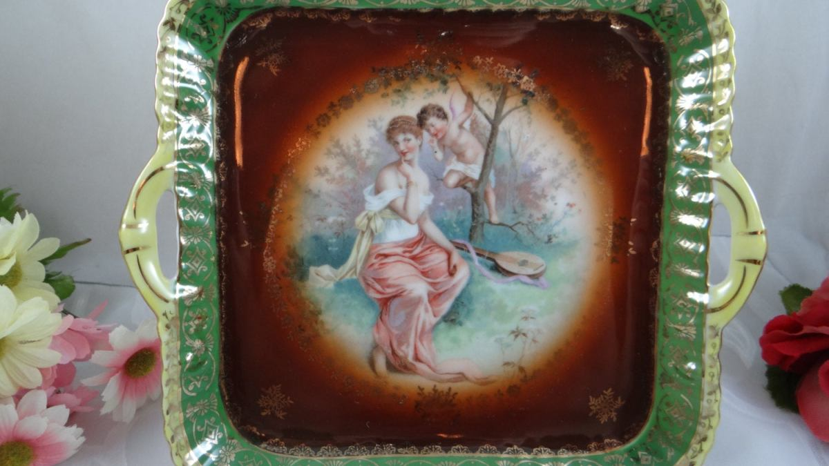 CICO Made in Germany Woman and Cherub in Paridise Porcelain Serving Tray –  Cabinet Display Piece