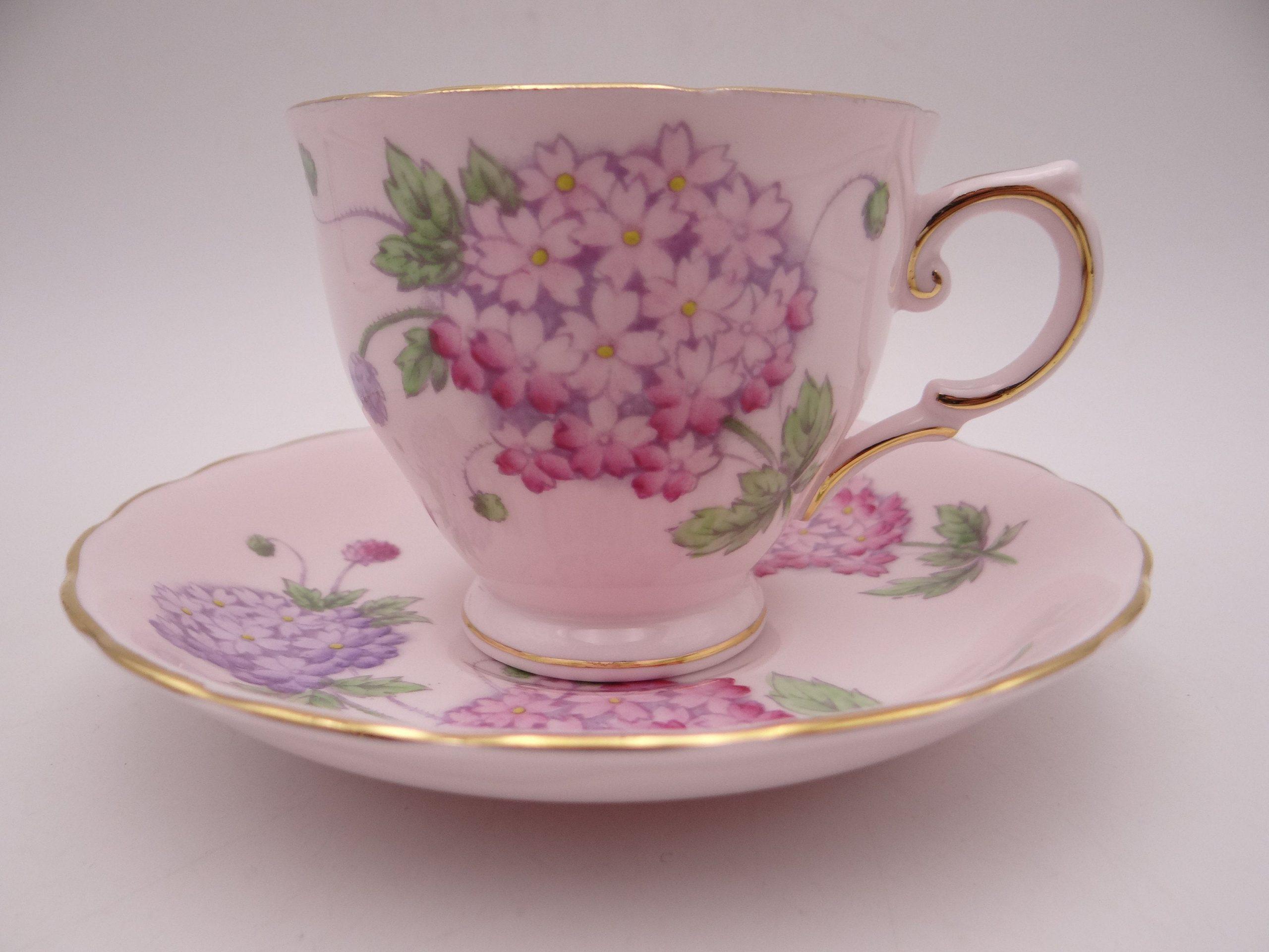 Duchess Bone China Tea Cup and Saucer Pink Chrysanthemums