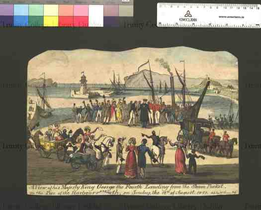 The arrival of George IV,  1821 (McCleary, 1821; from Nicholas K. Robinson Collection of Caricature; TCD)