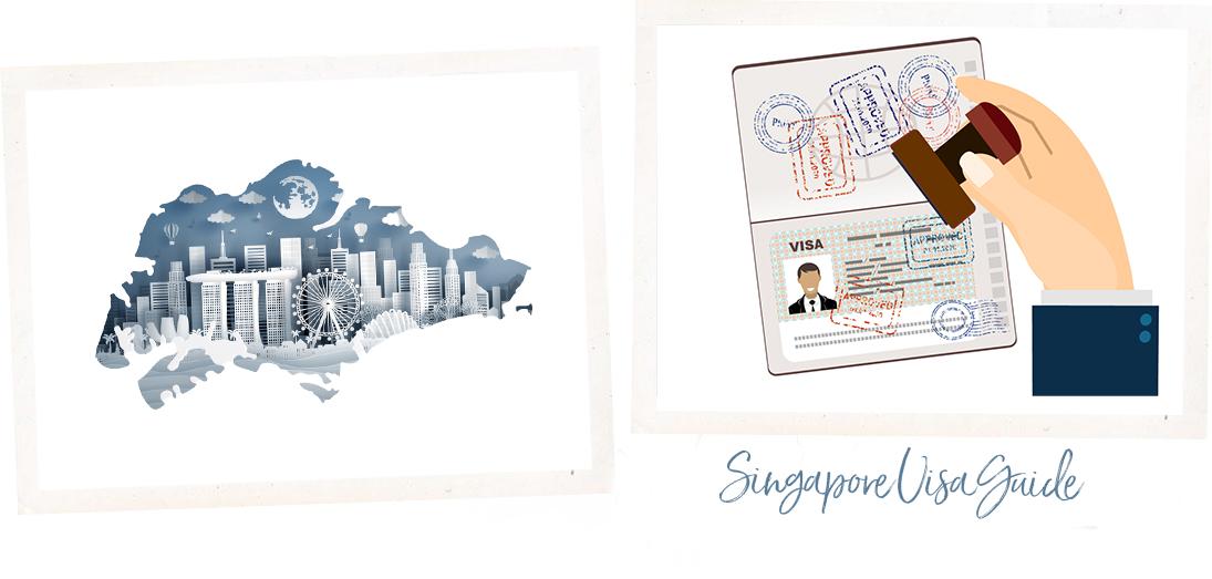 Singapore attractions in Singapore map, Singapore visa stamp on passport