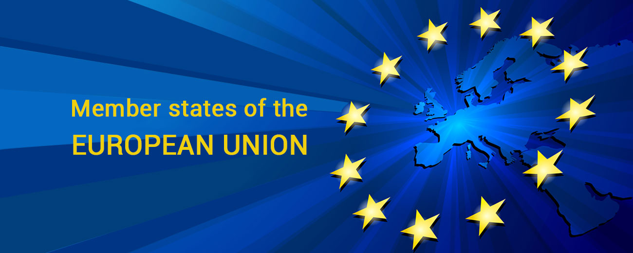 European union flag and map