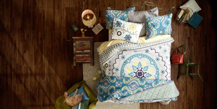 aerial view boho bedding room