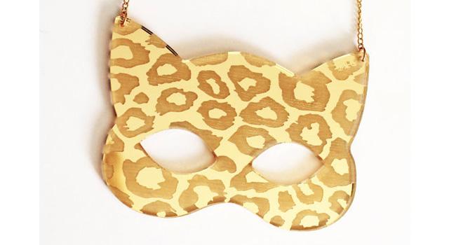 leopard print cat mask necklace