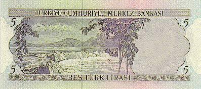 5 турецких лир с изображением водопада Манавгат