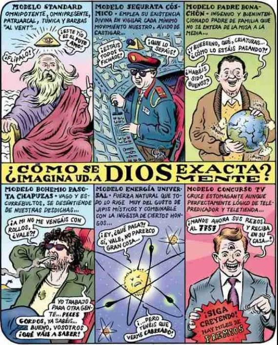 ¿Cómo se imagina usted a dios exactamente? Ilustración de Miguel Brieva