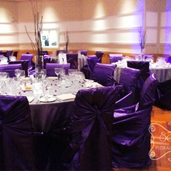 Wedding Chair Covers Lilac Black Glider With Ottoman A Purple And Pewter Silver Reception Decoration | Toronto Decor Secrets Floral ...