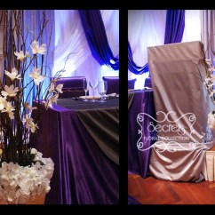 Cream Chair Covers For Weddings Baby Shower Sale A Purple And Pewter Silver Wedding Reception Decoration | Toronto Decor Secrets Floral ...