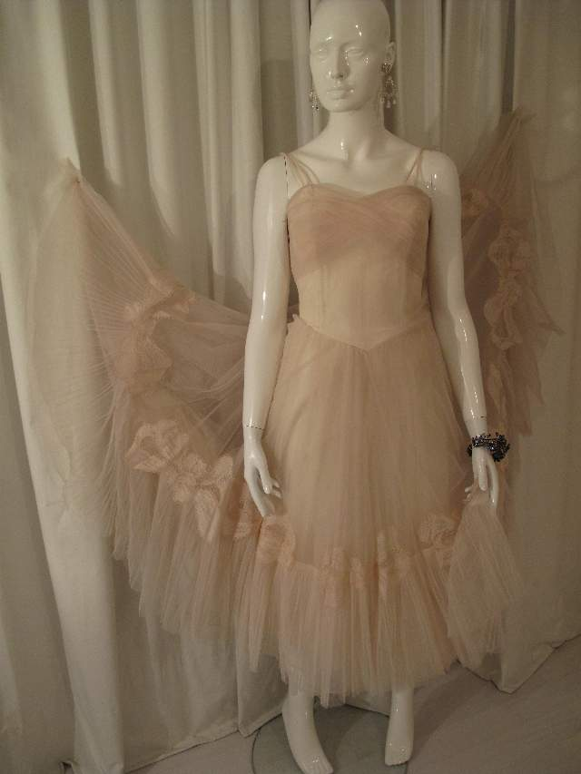 1950 s Hint of pink ballerina style vintage dress SOLD