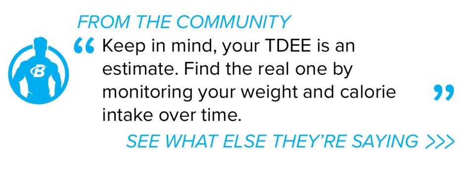 Keep in mind, your TDEE is an estimate. Find the real one by monitoring your weight and calorie intake over time.