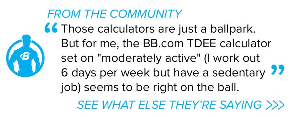 Those calculators are just a ballpark. But for me the BB.com TDEE calculator set on 'moderately active' (I work out 6 days per week but have a sedentary job) seems to be right on the ball.