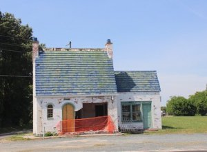 English Cottage Gas Station after accident