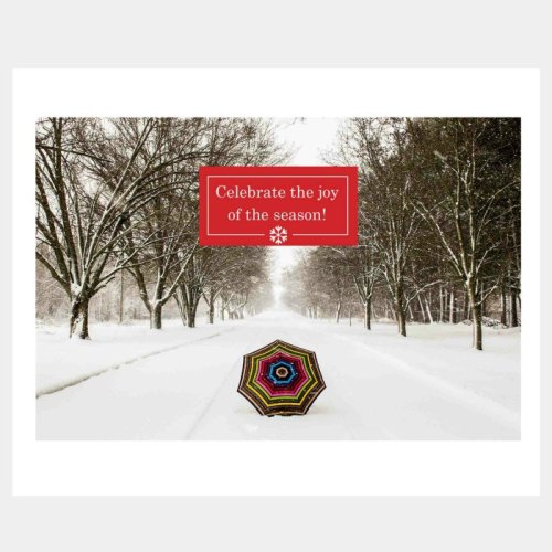 Umbrella in the Snow Holiday Card