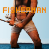 Still image from the short film, FISHERMAN. Facing the camera is the torso of a topless man with lots of chest hair, holding a fishing pole.