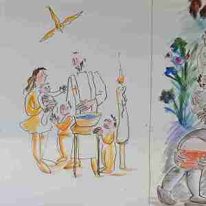 Fresque réalisée par Hélène Pouzoullic: baptême des enfants et des adultes, mariage