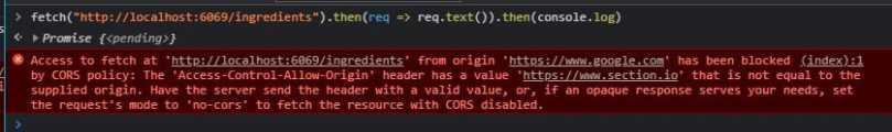 Cors policy header error