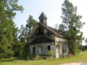 The Ezekiel New Congregational Methodist Church is located in Waltertown, Georgia.  Now abandoned and damaged by fire, it was built circa 1874.