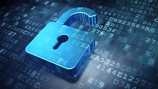 Opened padlock logo on alphanumeric background