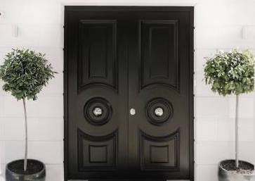 Black security front doors