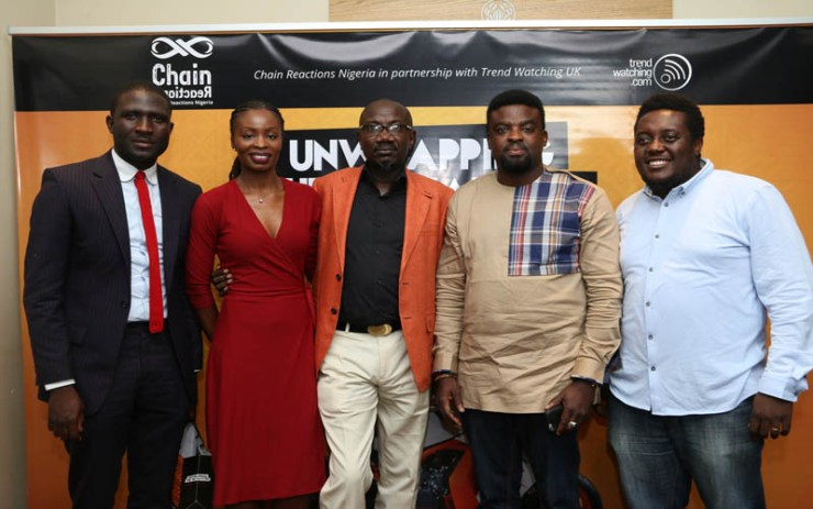 "Fashion Designer, Tayo Gabriels; EbonyLive TV Presenter, Lamide Akintobi, MD/Chief Strategist, Chain Reactions Nigeria, Israel Jaiye Opayemi, Nollywood Actor/Producer, Kunle Afolayan, Blogger/Co-Founder 360Nobs, Oye Akindehinde at the unveiling of The Nigerian Youth Trends Report, themed ""Unwrapping The Nu Natives"" undertaken by Chain Reactions Nigeria and TrendWatching, United Kingdom in Lagos"