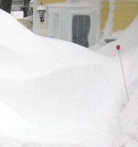 Entrée de maison encombrée de neige.