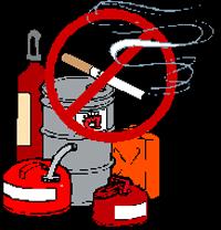 Interdiction de fumer des produits dangereux.