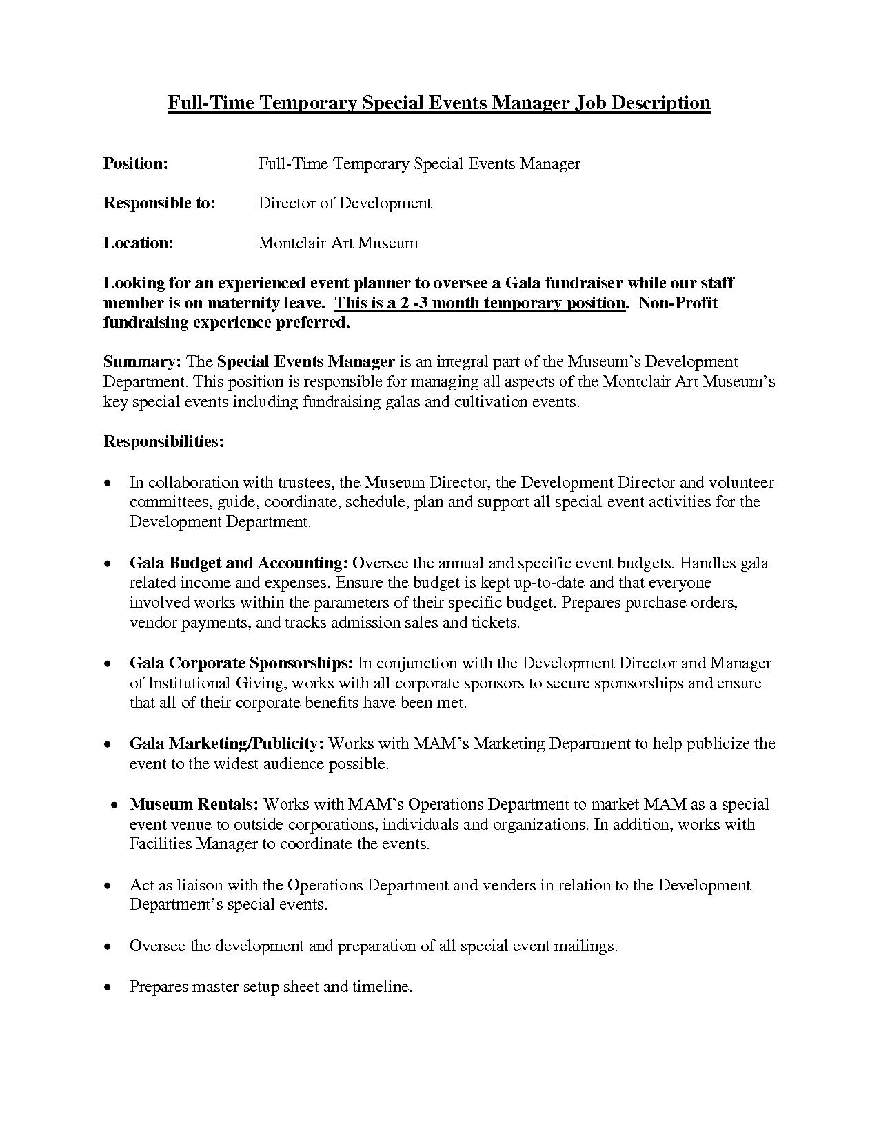Event Description Security Job
