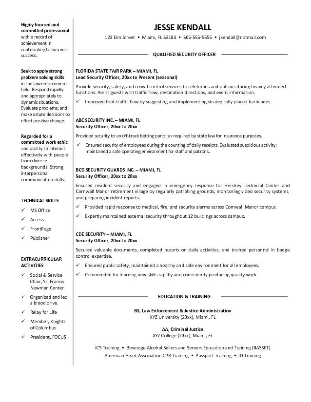 Resume Objective Statement Security Guard