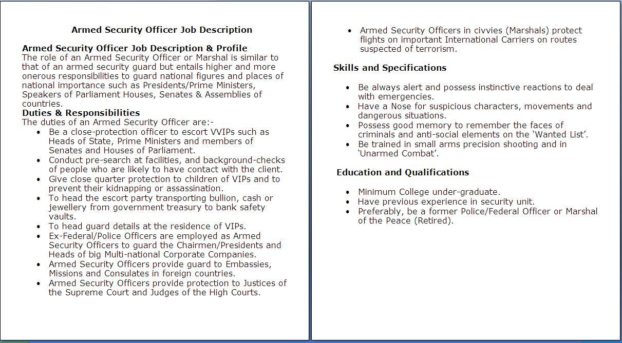 Job Description For Security Supervisor Security Guards