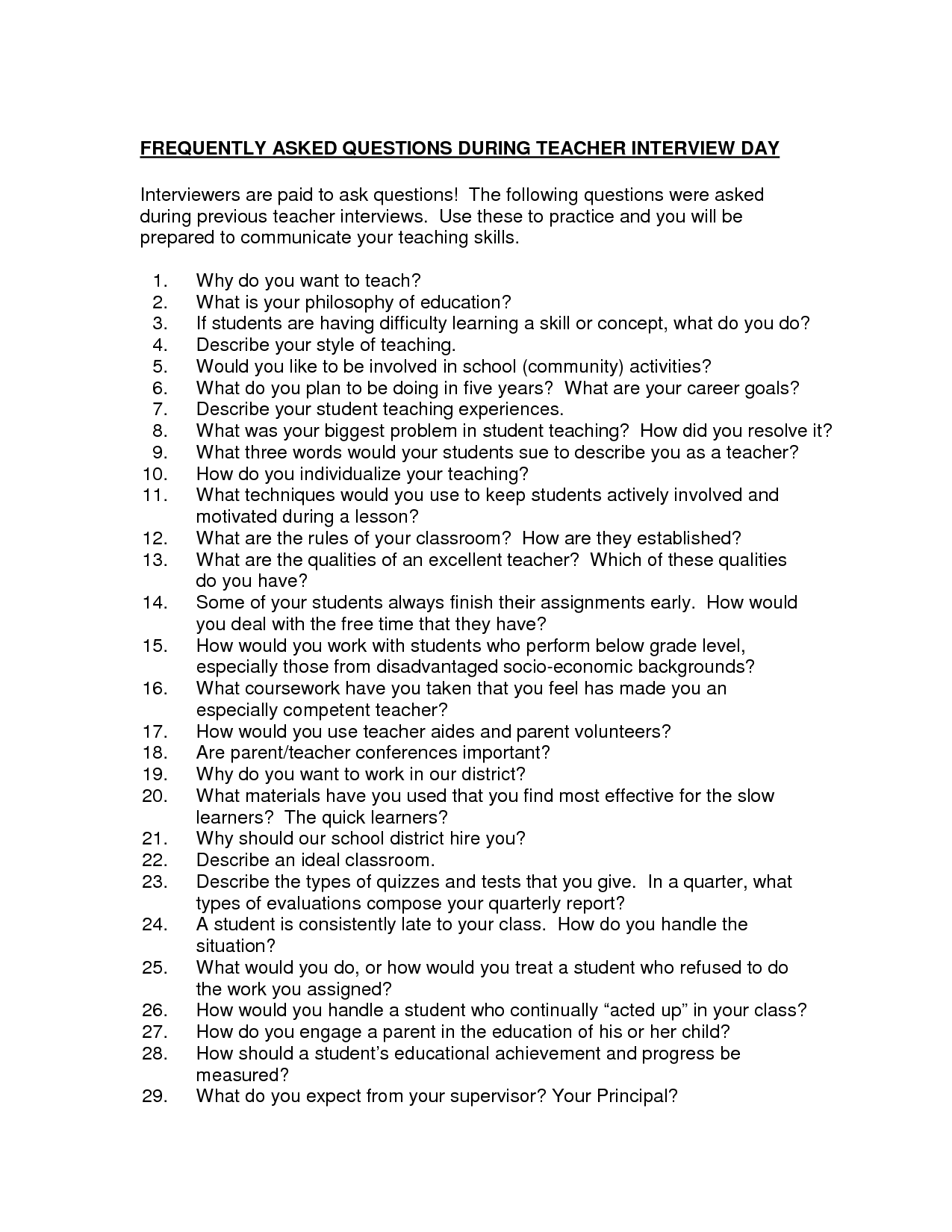 Possible Interview Questions For Teachers